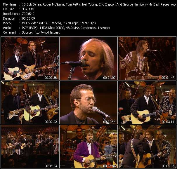 Bob Dylan, Roger McGuinn, Tom Petty, Neil Young, Eric Clapton And George Harrison - My Back Pages (From The 30th Anniversary Concert Celebration)
